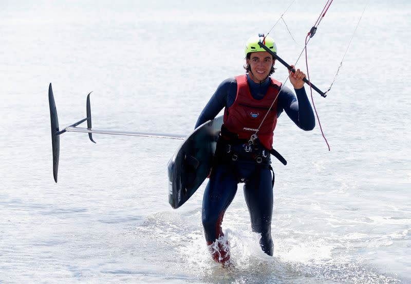 France's Axel Mazella, double kitefoil world champion, ready for kitefoil lift-off at home Games