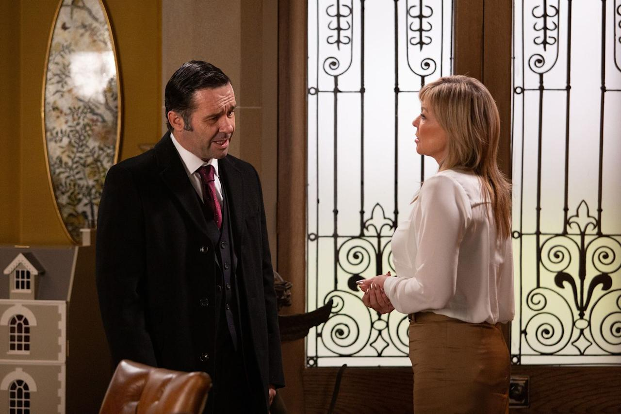<p>She's not happy that Graham is planning to leave for France with Rhona.</p>