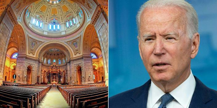 An image of the interior of a colorful, elaborate cathedral beside a close-up image of President Joe Biden.