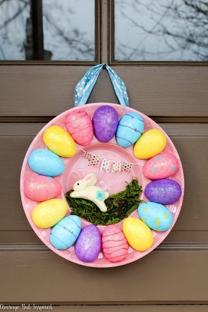 """<p>Yep—with the help of a little bit of spray paint, mini Easter decorations, and ribbon, even a plain old deviled egg tray can grace your front door. </p><p><strong>Get the tutorial at <a href=""""https://averageinspired.com/2017/03/how-to-make-an-egg-tray-wreath-for-easter-with-dollar-store-supplies.html"""" rel=""""nofollow noopener"""" target=""""_blank"""" data-ylk=""""slk:Average But Inspired"""" class=""""link rapid-noclick-resp"""">Average But Inspired</a>. </strong></p><p><strong><a class=""""link rapid-noclick-resp"""" href=""""https://www.amazon.com/dp/B00NYV6PPG/ref=dp_cerb_1?tag=syn-yahoo-20&ascsubtag=%5Bartid%7C10050.g.4088%5Bsrc%7Cyahoo-us"""" rel=""""nofollow noopener"""" target=""""_blank"""" data-ylk=""""slk:SHOP EGG TRAYS"""">SHOP EGG TRAYS</a></strong></p>"""