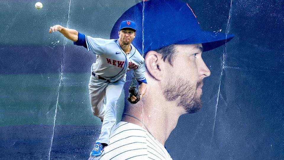 Jacob deGrom treated image, side profile and pitching