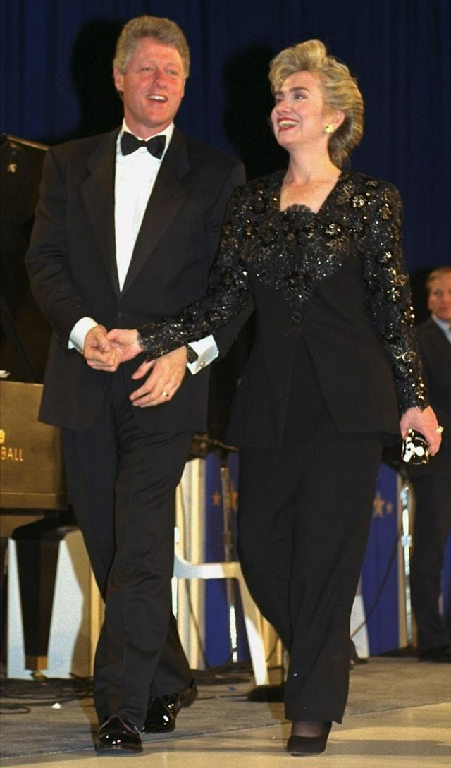 President-elect Bill Clinton and his wife Hillary appear at the inaugural ball at the Washington Convention Center, January 18, 1993. (AP Photo/Greg Gibson)