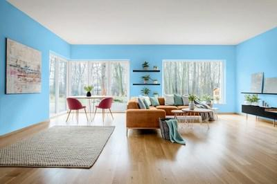 """Dutch Boy® Paints unveils its selection of """"Earth's Harmony,"""" a vivid, soft blue, as its 2021 Color of the Year. Reminiscent of a perfect sky-blue day, Earth's Harmony (237-5DB), is a healing color that reinforces the wellness that comes from mood-boosting, real-life experiences. The hue helps us step out of the routine, appreciate the beauty of thoughtful spaces and embrace home as the place to find comfort and joy in life's imperfections."""