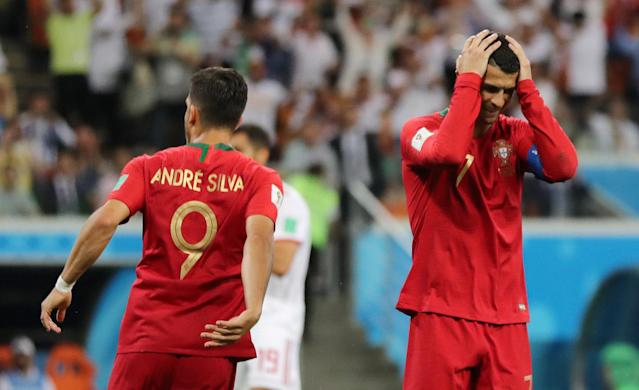 Soccer Football - World Cup - Group B - Iran vs Portugal - Mordovia Arena, Saransk, Russia - June 25, 2018 Portugal's Cristiano Ronaldo reacts after missing a penalty REUTERS/Ivan Alvarado