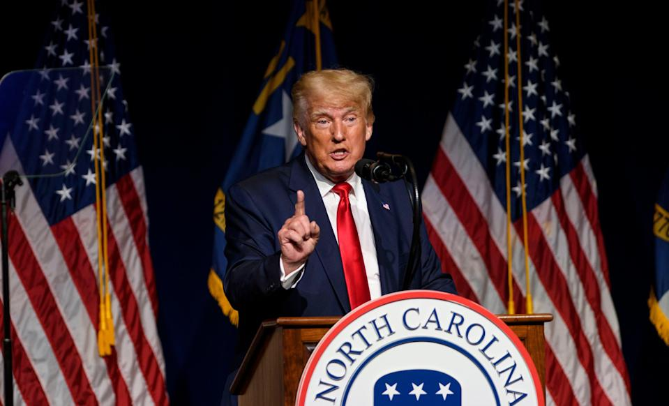 Former US President Donald Trump addresses the NCGOP state convention on June 5, 2021 in Greenville, North Carolina. CNN correspondent Barbara Starr has said a Trump-era Justice Department decision to seize her records was a 'sheer abuse of power'. (Getty Images)