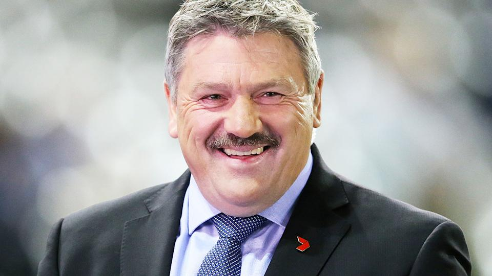 Brian Taylor, pictured here before an AFL game in 2017.