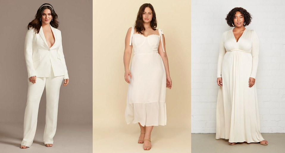 20 plus-size bridal outfits to wear to your civil ceremony (Photos via David's Bridal, Reformation, and Rachel Pally)