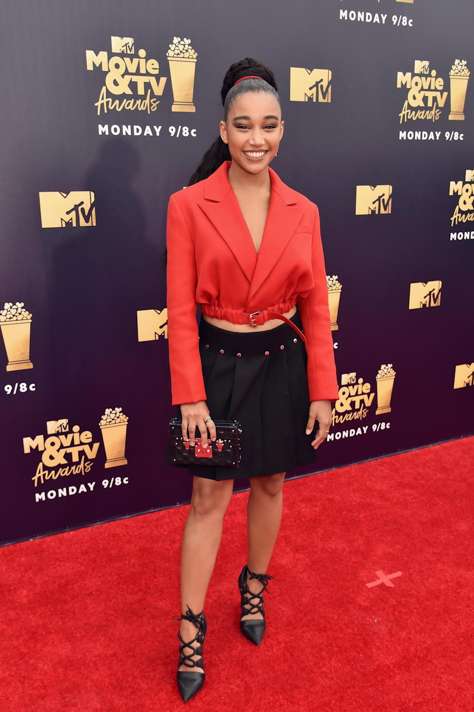 Amandla Stenberg attends the 2018 MTV Movie and TV Awards on June 16 in Santa Monica, Calif. (Photo: Getty Images)