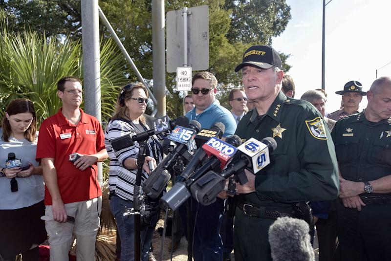 Escambia County Sheriff David Morgan speaks with members of the media during a press conference about a shooting that occurred at NAS Pensacola on Friday, Dec. 6, 2019.