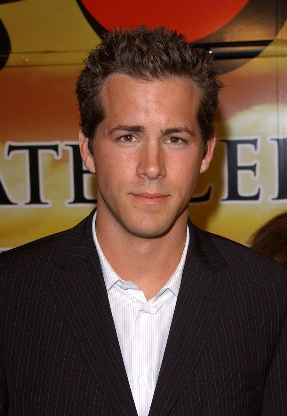 <p>Talk about a throwback hairstyle. Ryan Reynolds arrived at the premiere of <em>National Lampoon's Van Wilder </em>in 2002 with his brown hair in a signature 2000s spike. </p>