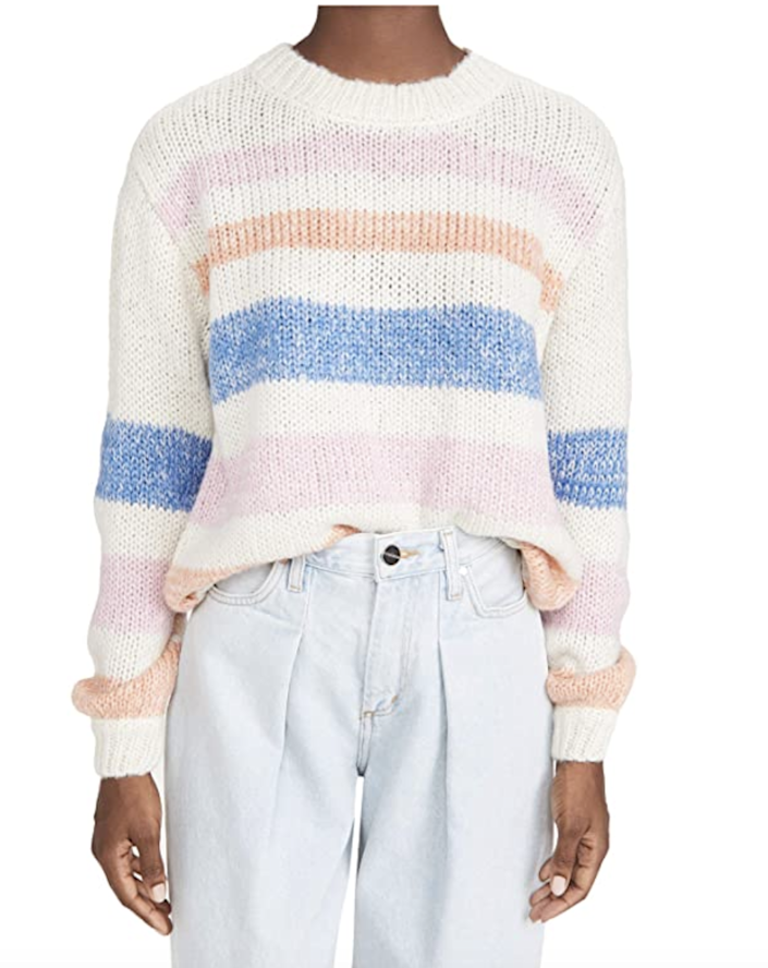 """While it's easy to gravitate to classic color pairings like navy and white, we're totally digging this candy-colored striped pullover. $89, Amazon. <a href=""""https://www.amazon.com/BB-Dakota-Womens-Making-Sweater/dp/B08B49S515?s=shopbop&ref_=sb_ts"""" rel=""""nofollow noopener"""" target=""""_blank"""" data-ylk=""""slk:Get it now!"""" class=""""link rapid-noclick-resp"""">Get it now!</a>"""