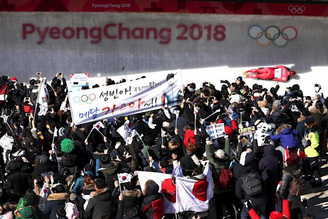<p>Sungbin Yun of Korea slides during the Men's Skeleton heats on day six of the PyeongChang 2018 Winter Olympic Games at the Olympic Sliding Centre on February 15, 2018 in Pyeongchang-gun, South Korea. (Photo by Lars Baron/Getty Images) </p>