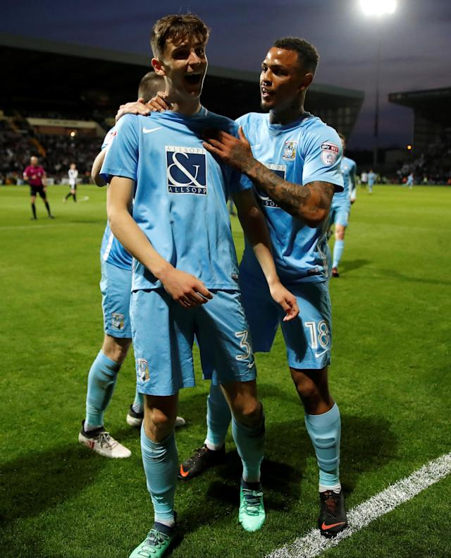 "Soccer Football - League Two Play Off Semi Final Second Leg - Notts County vs Coventry City - Meadow Lane, Nottingham, Britain - May 18, 2018 Coventry City's Tom Bayliss celebrates scoring their fourth goal with Jonson Clarke-Harris Action Images/Carl Recine EDITORIAL USE ONLY. No use with unauthorized audio, video, data, fixture lists, club/league logos or ""live"" services. Online in-match use limited to 75 images, no video emulation. No use in betting, games or single club/league/player publications. Please contact your account representative for further details."