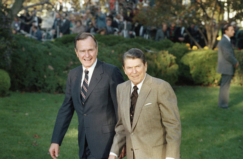 """George H.W. Bush promised a """"kinder, gentler"""" presidency than his predecessor, Ronald Reagan, but he cemented the influence of conservative Christian bigotry in his party. (ASSOCIATED PRESS)"""