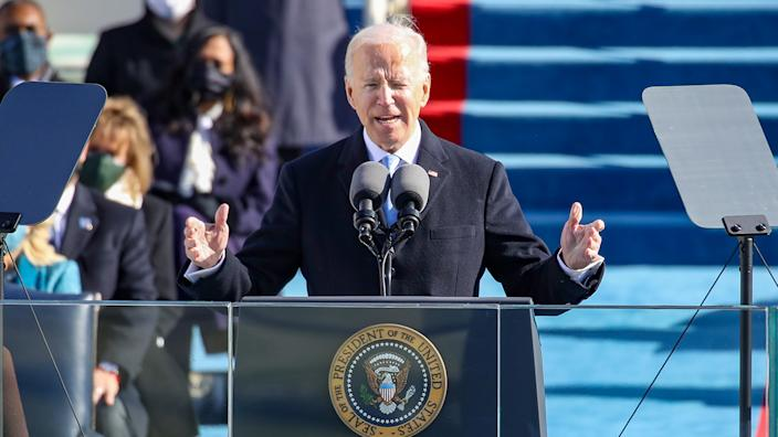 President Biden delivers his inaugural address on the West Front of the U.S. Capitol on January 20, 2021 in Washington, DC.  (Rob Carr/Getty Images)