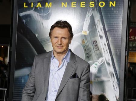 "Actor Liam Neeson poses at the premiere of his new film ""Non-Stop"" in Los Angeles"