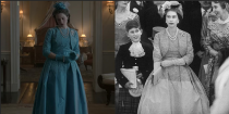 <p>During the buildup to Princess Margaret's wedding, one could have missed the nearly identical recreation of Queen Elizabeth's dress. The monarch is only shown briefly in her cerulean belted dress, which featured a lace bodice and taffeta full skirt.</p>