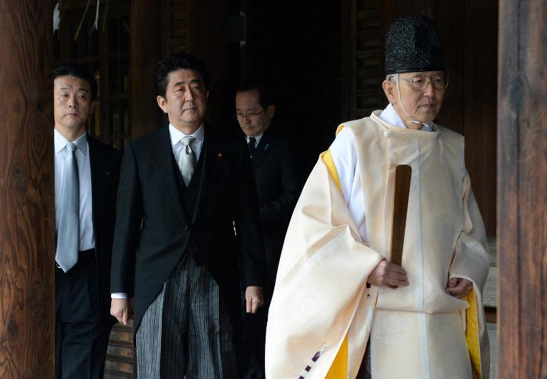 File picture taken on December 26, 2013, showing Japanese Prime Minister Shinzo Abe during a visit to the controversial Yasukuni war shrine