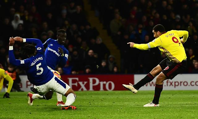 Troy Deeney scores Watford's winner against Everton on a bitterly cold evening at Vicarage Road.
