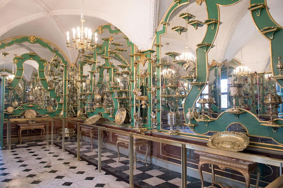 Picture taken on April 9, 2019 shows one of the rooms in the Green Vault (Gruenes Gewoelbe) at the Royal Palace in Dresden, eastern Germany. - A state museum in Dresden containing billions of euros worth of baroque treasures has been robbed, police in Germany confirmed on November 25, 2019. The Green Vault at Dresden's Royal Palace, which is home to around 4000 precious objects made of ivory, gold, silver and jewels, was reportedly broken into at 5am on early morning. (Photo by Sebastian Kahnert / dpa / AFP) / Germany OUT (Photo by SEBASTIAN KAHNERT/dpa/AFP via Getty Images)