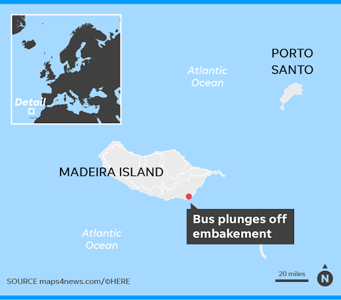 A bus carrying German tourists plunged off an embankment on the Portuguese island of Madeira, leaving 28 dead.