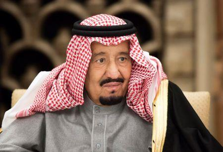 Saudi Arabia's King Salman bin Abdulaziz Al Saud attends a banquet hosted by Shinzo Abe, Japan's PM, at the prime minister's official residence in Tokyo, Japan