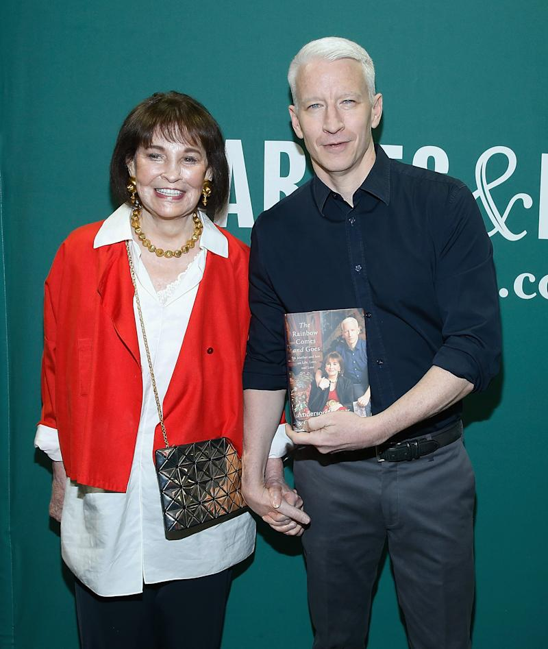 NEW YORK, NEW YORK - APRIL 07: Gloria Vanderbilt and Anderson Cooper in conversation at Barnes & Noble Union Square on April 7, 2016 in New York City. (Photo by John Lamparski/Getty Images)