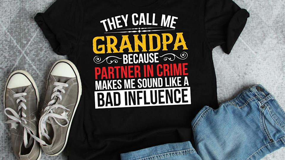 Best gifts for grandpa: Partner in crime t-shirt