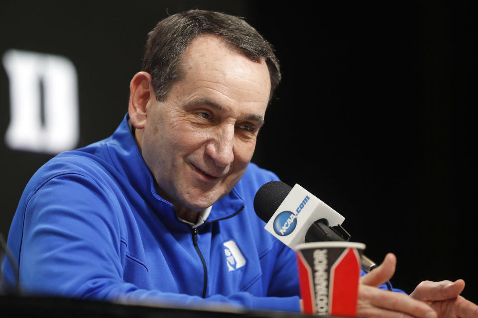 FILE - In this March 28, 2019, file photo, Duke head coach Mike Krzyzewski answers questions during a news conference at the NCAA college basketball tournament in Washington. Duke Hall of Fame coach Mike Krzyzewski will coach his final season with the Blue Devils in 2021-22, a person familiar with the situation said Wednesday, June 2, 2021. The person said former Duke player and associate head coach Jon Scheyer would then take over as Krzyzewski's successor for the 2022-23 season. (AP Pablo Martinez Monsivais, File)