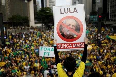 "Supporter of Jair Bolsonaro, far-right lawmaker and presidential candidate of the Social Liberal Party (PSL), holds a sign with the image of former Brazilian president Luiz Inacio Lula da Silva reading  ""Lula, never again"" during a demonstration in Sao Paulo, Brazil, October 21, 2018. REUTERS/Nacho Doce"