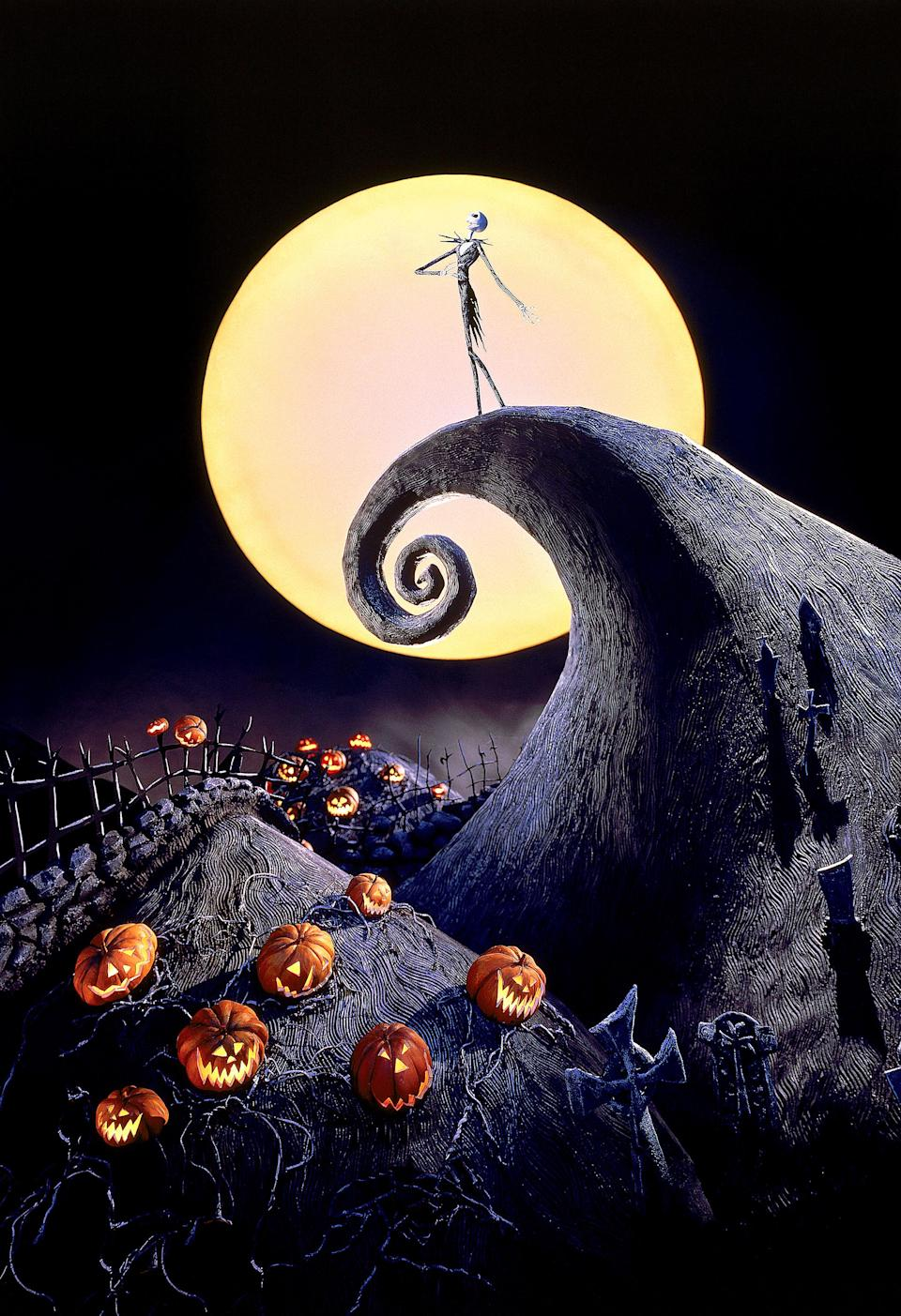 Jack Skellington in an iconic image from <em>The Nightmare Before Christmas</em>, directed by Henry Selick. (Image: Disney/Buena Vista Pictures/Everett Collection)