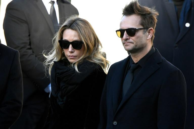 Laura Smet and her half-brother David Hallyday at the funeral in Paris