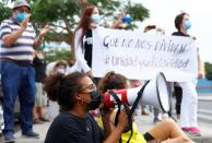 Demonstration in several cities of Gran Canaria in favor of the rights of migrants, in Maspalomas