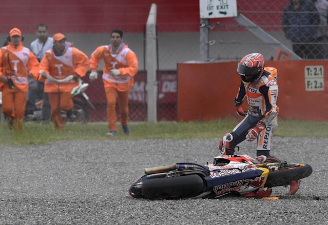 Marc Marquez crashed out of the lead on the fourth lap (Getty)