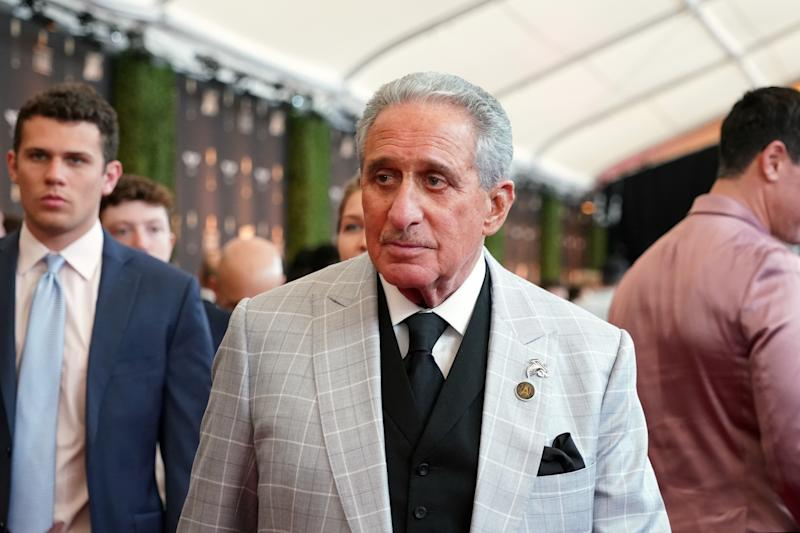 Feb 1, 2020; Miami, Florida, USA; Atlanta Falcons owner Arthur Blank appears on the red carpet prior to the NFL Honors awards presentation at Adrienne Arsht Center. Mandatory Credit: Kirby Lee-USA TODAY Sports