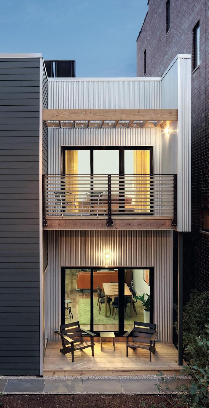 Architect Jeffrey Sommers of Square Root designed the semi-customizable C3 Pre-fab—the first LEED Platinum–certified home in Chicago—using corrugated Galvalume, reclaimed wood, and fiber cement. Modular construction allowed the firm to build on a narrow site that would have not have allowed traditional building methods.
