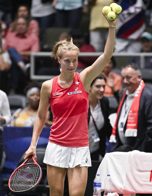 Switzerland's Viktorija Golubic waves to fans after her playoff-round Fed Cup tennis match win against Madison Keys of the United States, Saturday, April 20, 2019, in San Antonio. (AP Photo/Darren Abate)