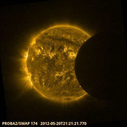 """The European Space Agency's Proba-2 space weather satellite observed the annular solar eclipse on May 20, 2012. The event was used to assess the intensity of stormy """"active regions"""" across the sun's face and to check the performance of Proba-2'"""