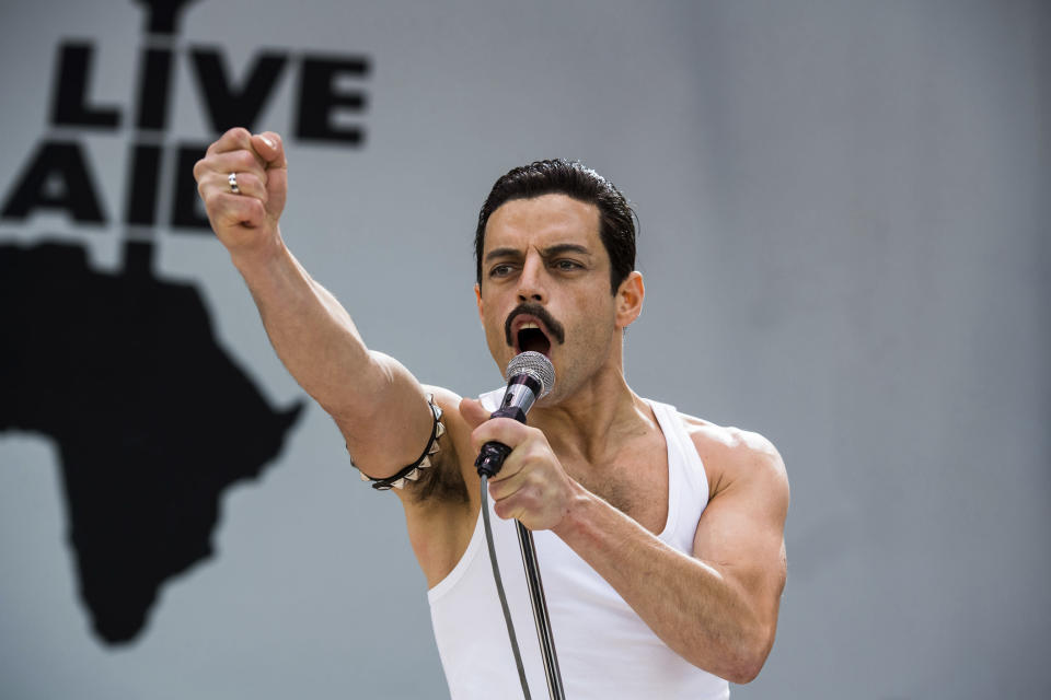 Rami Malek in a scene from Bohemian Rhapsody directed by Singer (Alex Bailey/Twentieth Century Fox via AP)