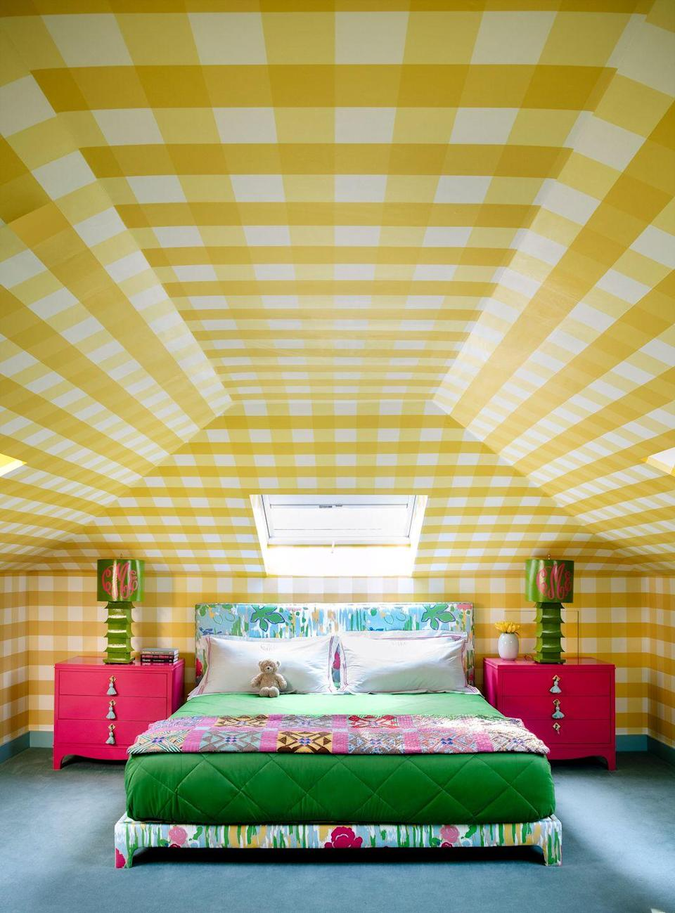 """<p>If a room could be a hug, this is what it would look like. The chipper yellow gingham wallpaper envelopes the entire space designed by <a href=""""https://www.housebeautiful.com/design-inspiration/house-tours/a27359533/bunny-hop-cottage-shazalynn-cavin-winfrey-design/"""" rel=""""nofollow noopener"""" target=""""_blank"""" data-ylk=""""slk:Shazalynn Cavin-Winfrey"""" class=""""link rapid-noclick-resp"""">Shazalynn Cavin-Winfrey</a>, unifying the many angles and corners. The architectural quirks, along with the punchy colors and fun fabrics, make it feel like a clubhouse.</p>"""