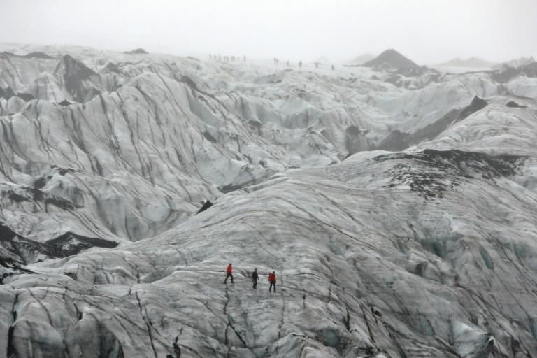 The Solheimajokull glacier has shrunk by an average of 40 metres per year in the past decade (AFP Photo/THIBAULT CAMUS)