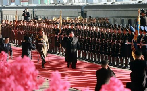 Kim set off on the long journey from Pyongyang on Saturday, with a military honour guard seeing him off