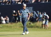 United States' Collin Morikawa celebrates on the 18th green after winning the British Open Golf Championship at Royal St George's golf course Sandwich, England, Sunday, July 18, 2021. (AP Photo/Peter Morrison)