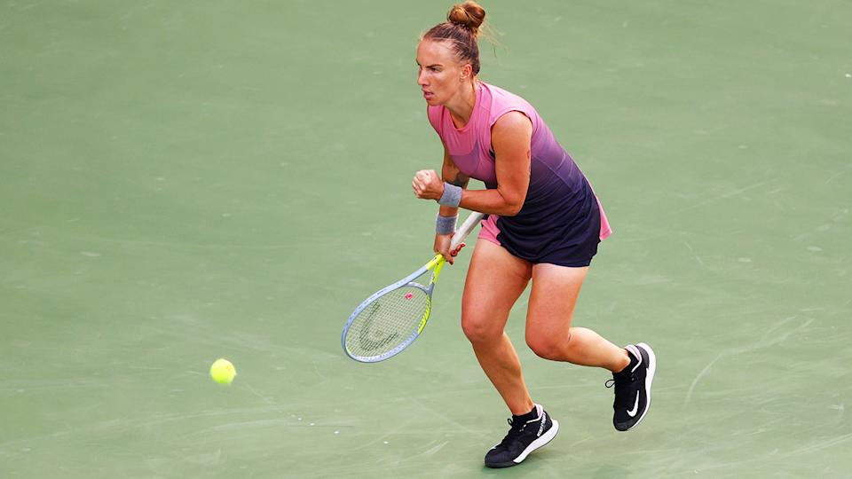 Svetlana Kuznetsova, pictured here during her clash with Elina Svitolina in Dubai.