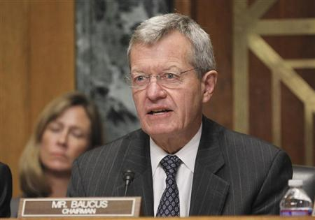 """U.S. Senator Baucus questions HHS Secretary Sebelius during Senate Finance Committee hearing about """"Obamacare"""" on Capitol Hill in Washington"""