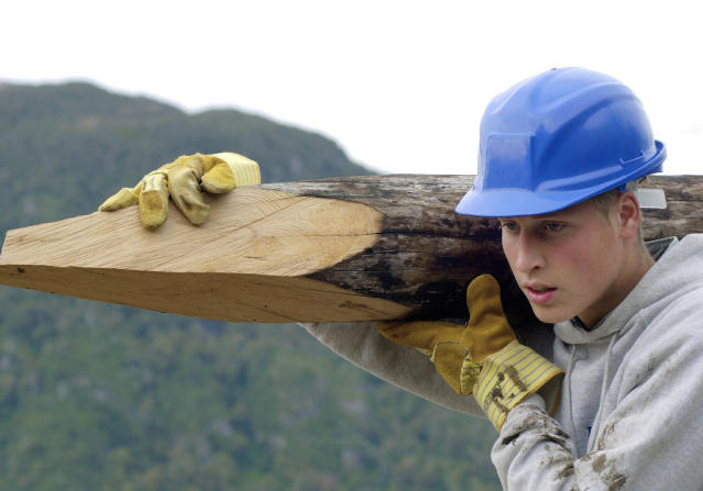 William at 18 in his gap year working on a voluntary building project in Southern Chile (Getty)