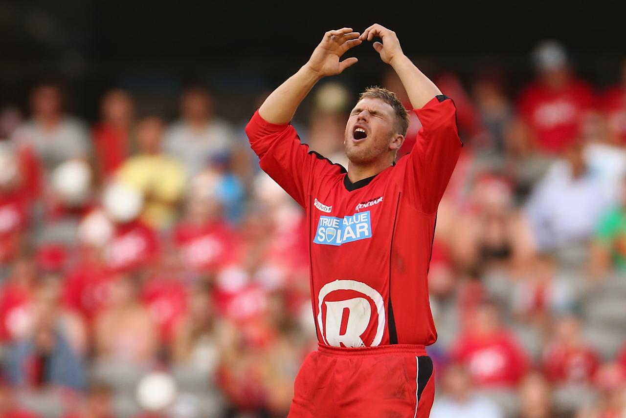 MELBOURNE, AUSTRALIA - JANUARY 15: Aaron Finch of the Renegades reacts after a delivery during the Big Bash League Semi-Final match between the Melbourne Renegades and the Brisbane Heat at Etihad Stadium on January 15, 2013 in Melbourne, Australia.  (Photo by Robert Cianflone/Getty Images)