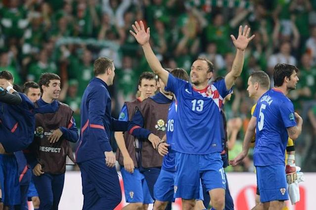 Croatia players celebrate after winning during the Euro 2012 football championships match Ireland vs Croatia on June 10, 2012 at the Municipal Stadium in Poznan. AFP PHOTO / DIMITAR DILKOFFDIMITAR DILKOFF/AFP/GettyImages