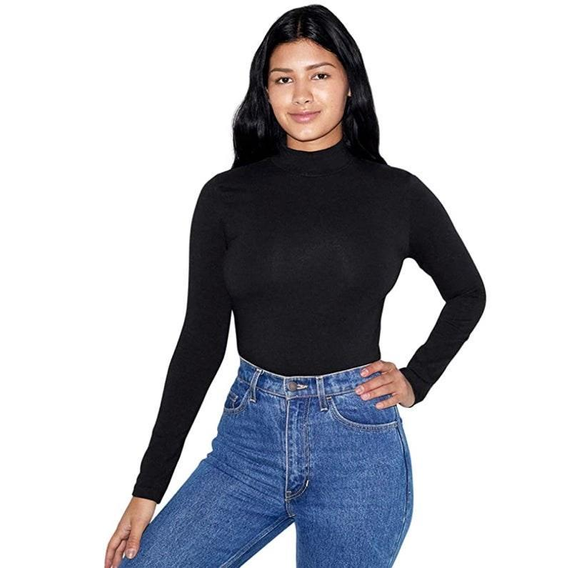 "Appear as though you didn't wake up two seconds ago with this Zoom-ready turtleneck, and throw on some specs to complete the look. $28, Amazon. <a href=""https://www.amazon.com/American-Apparel-Womens-Spandex-Turtleneck/dp/B07WZ9V7V1"" rel=""nofollow noopener"" target=""_blank"" data-ylk=""slk:Get it now!"" class=""link rapid-noclick-resp"">Get it now!</a>"