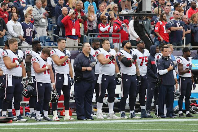 <p>The Houston Texans stand for the national anthem before the game against the New England Patriots at Gillette Stadium on September 9, 2018 in Foxborough, Massachusetts. (Photo by Jim Rogash/Getty Images) </p>